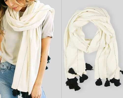 black and white hemp scarf