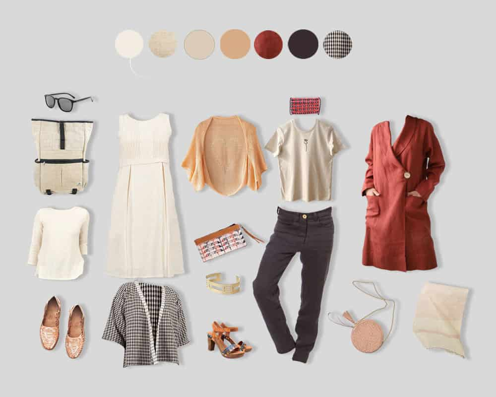 season capsule wardrobe in a brown colour palette