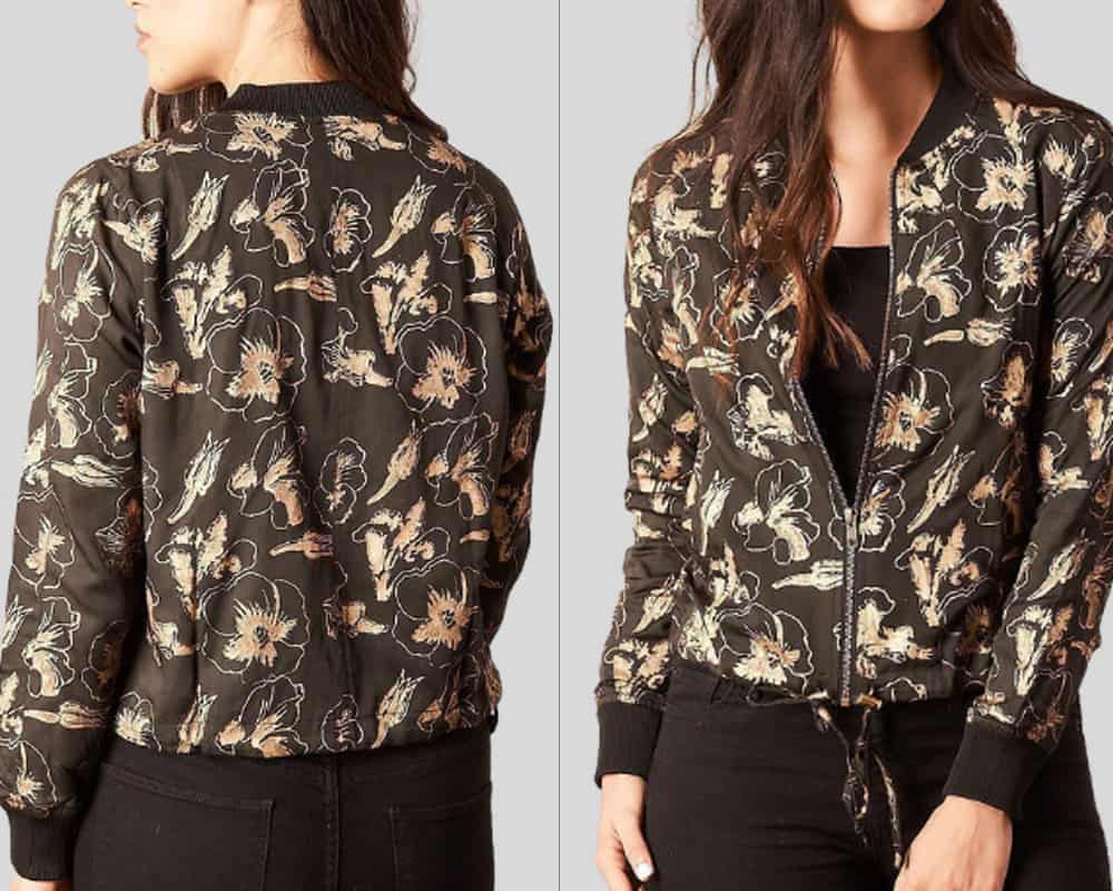 patterned bomber jacket fron and back
