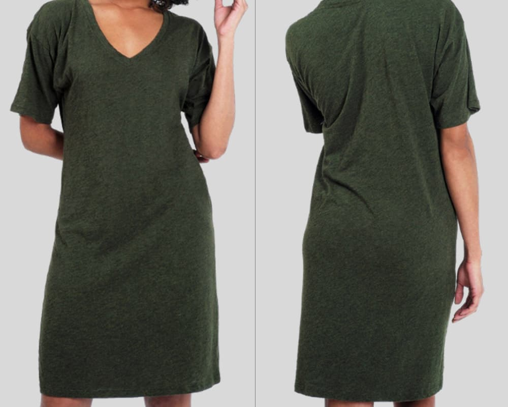 dark-green fron and back dress
