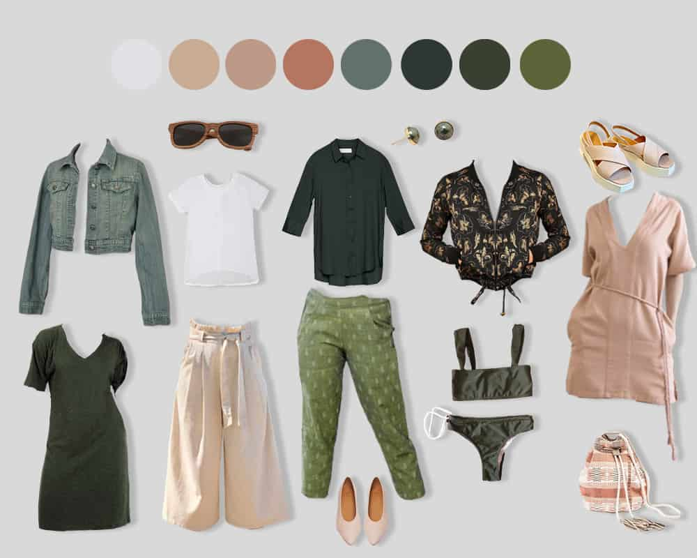 green seasonal capsule wardrobe