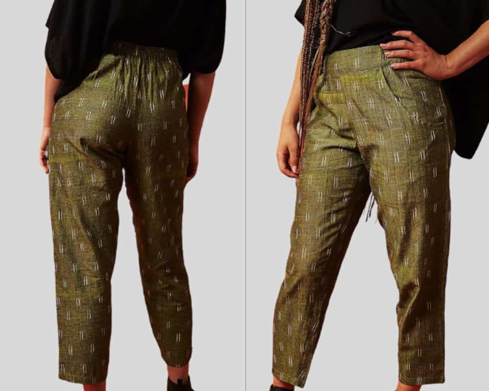 green trousers fron and back