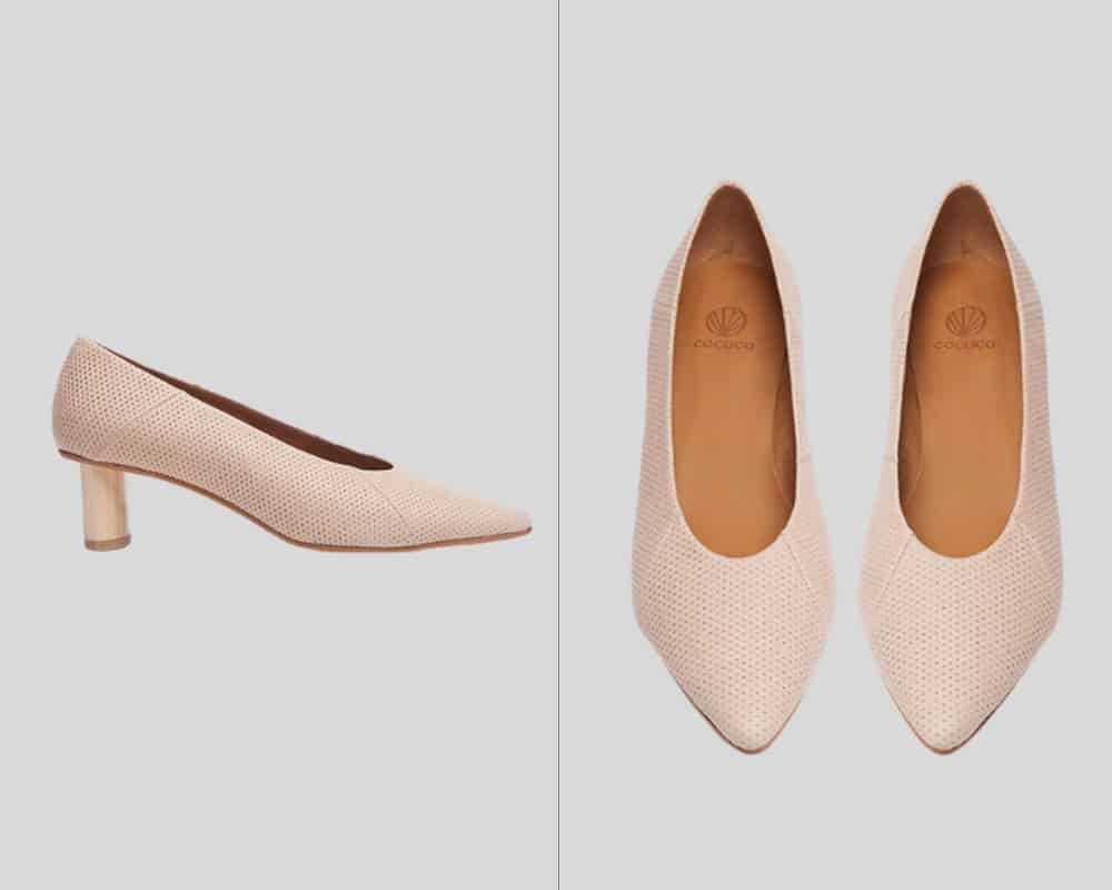 light pink pumps side and top