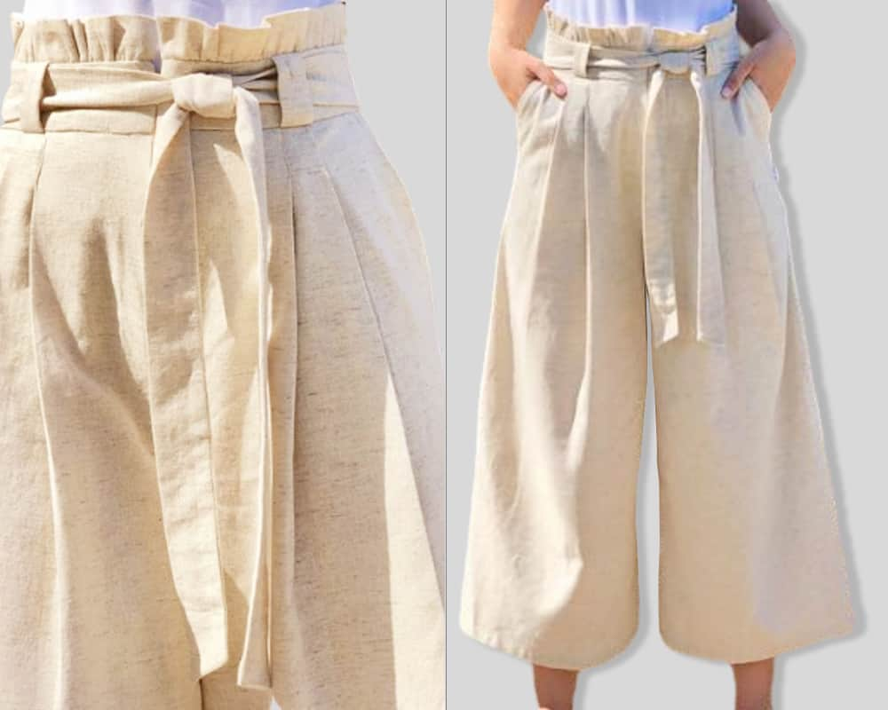 linen trousers fron and detail