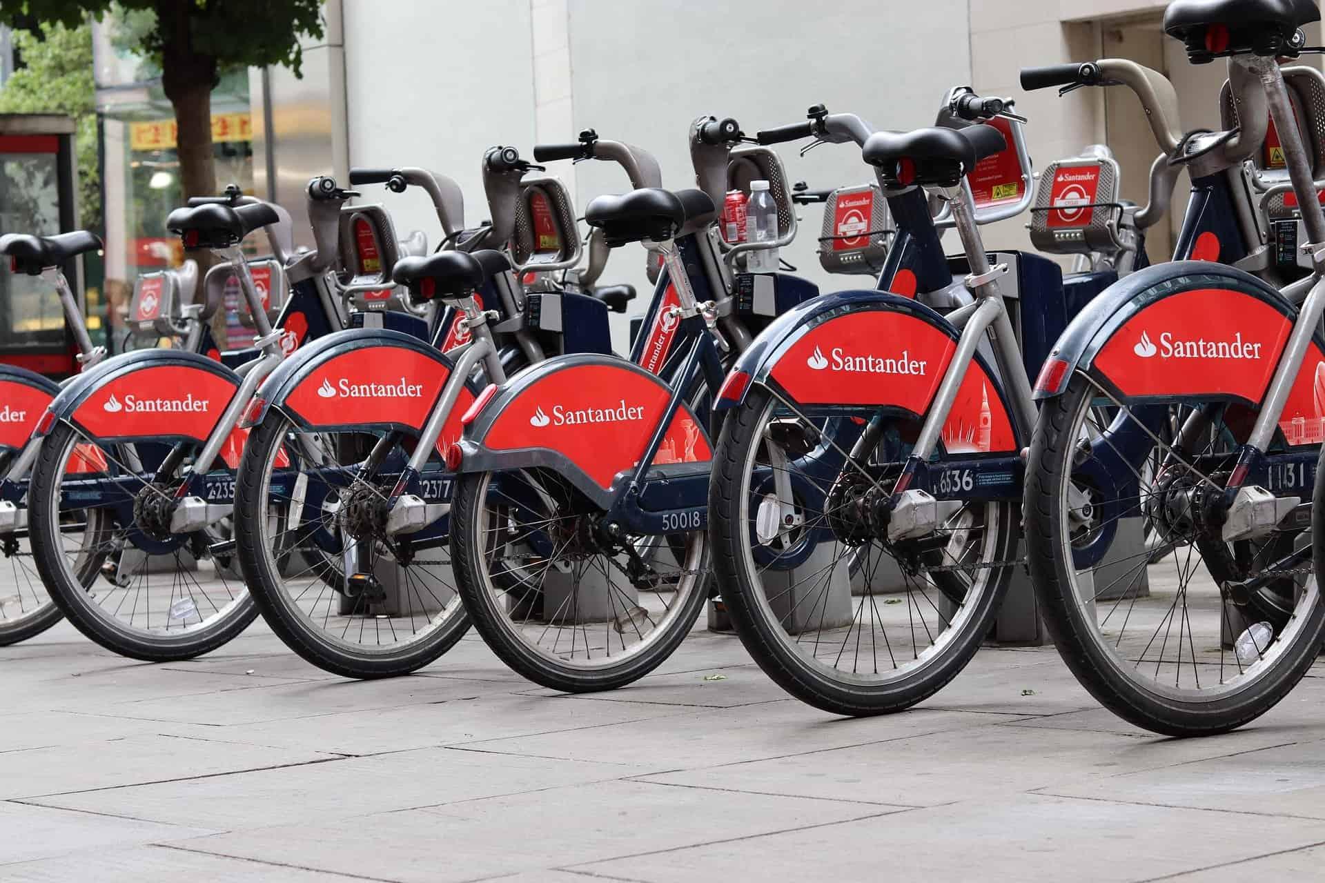 santander public bikes lined up