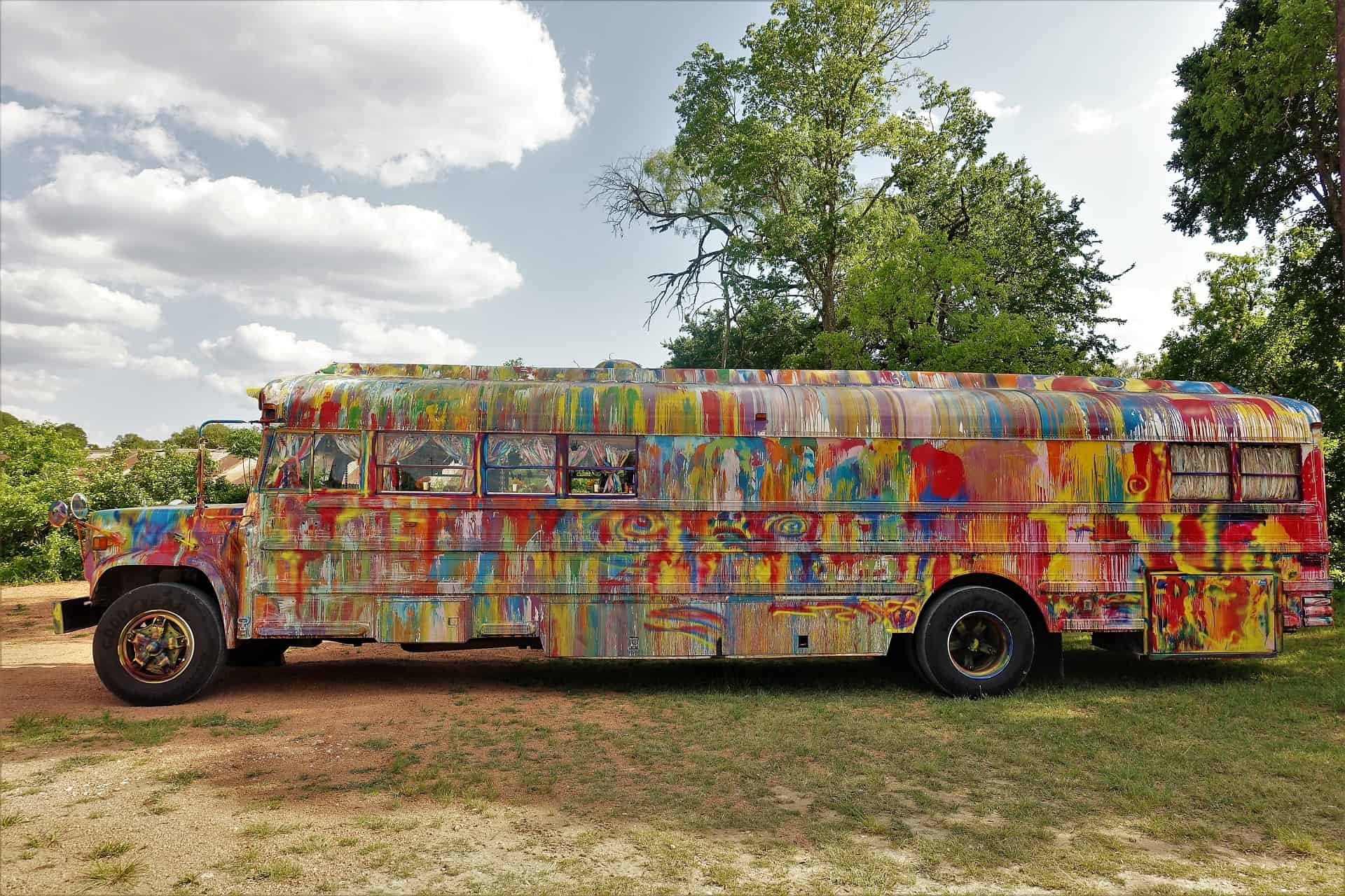 school bus converted and colourful