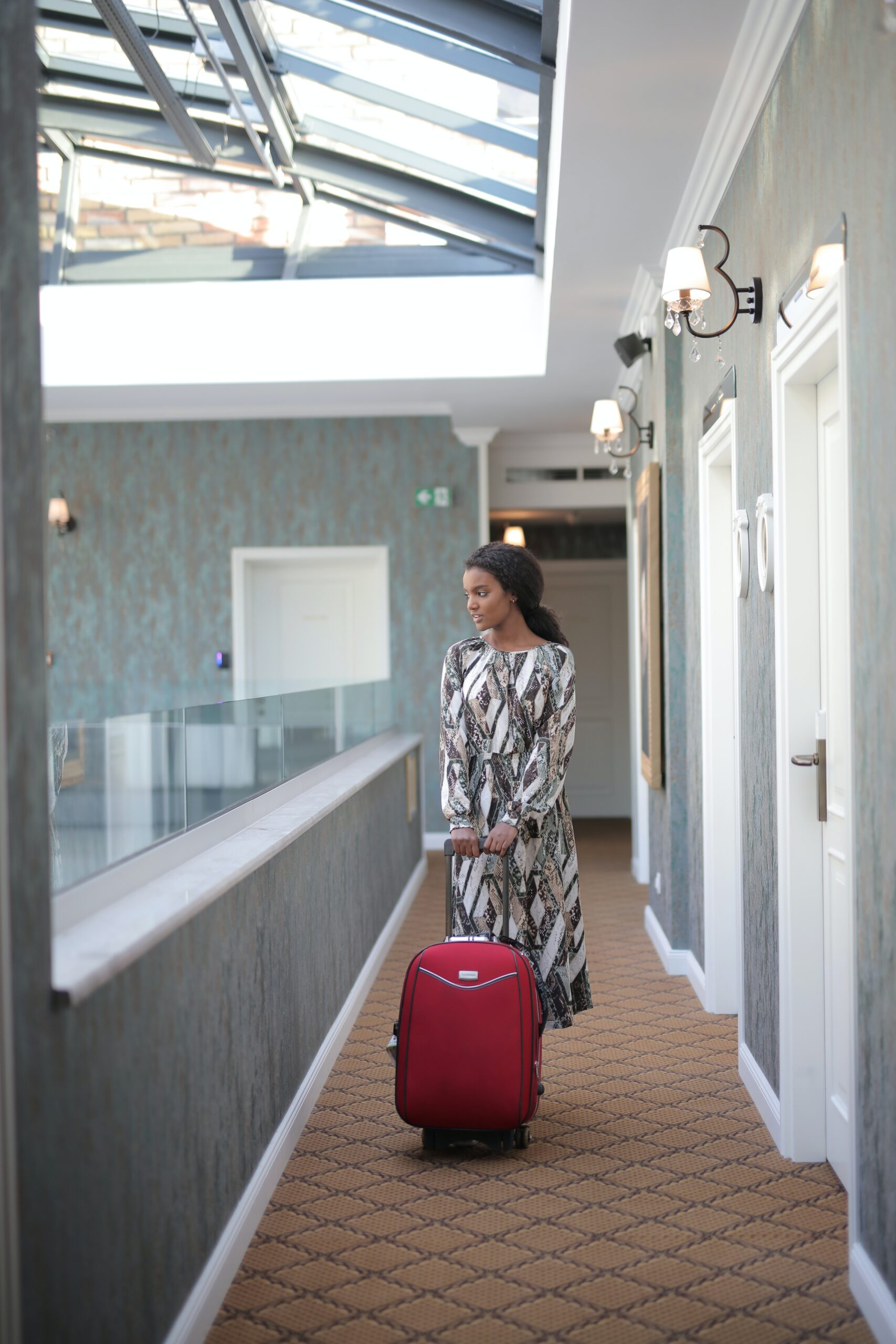 woman travelling with luggage